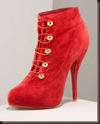 Christian Louboutin red suede shootie