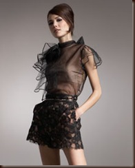 Valentino Leather-Trim Lace Shorts 1890