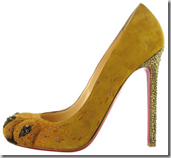 christian louboutins lions paw from the side
