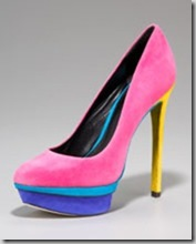 B Brian Atwood Suede Color Block Pump 350