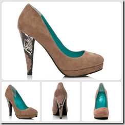 Shoes of Prey Work Shoes in Taupe Suede with Snake Skin Heel