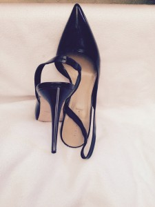 BCBG Black 5 inch chrome piped sling backs